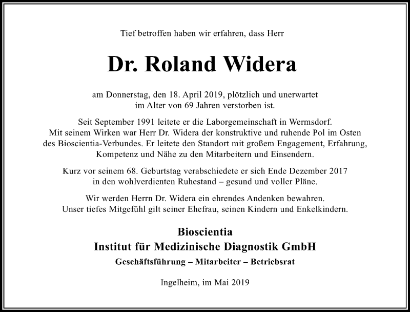 Traueranzeige für Roland Widera vom 04.05.2019 aus Leipziger Volkszeitung
