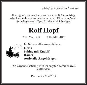 Traueranzeige für Rolf Hopf vom 11.05.2019 aus Märkischen Allgemeine Zeitung