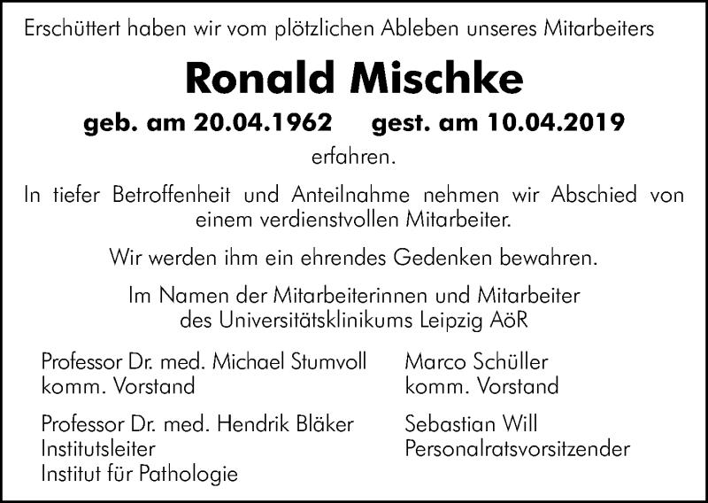 Traueranzeige für Ronald Mischke vom 20.04.2019 aus Leipziger Volkszeitung