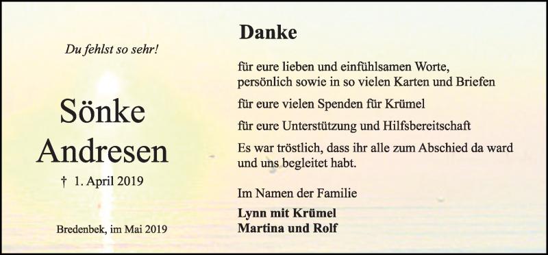 Traueranzeige für Sönke Andresen vom 11.05.2019 aus Kieler Nachrichten