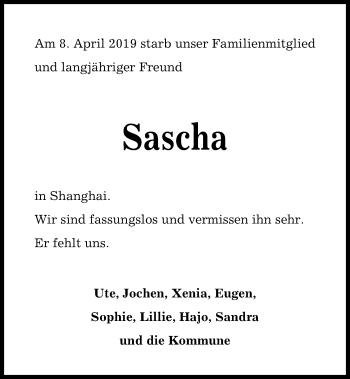 Traueranzeige für Sascha Matthes vom 18.05.2019 aus Kieler Nachrichten