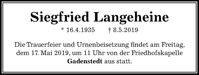Traueranzeige für Siegfried Langeheine vom 15.05.2019 aus Peiner Allgemeine Zeitung