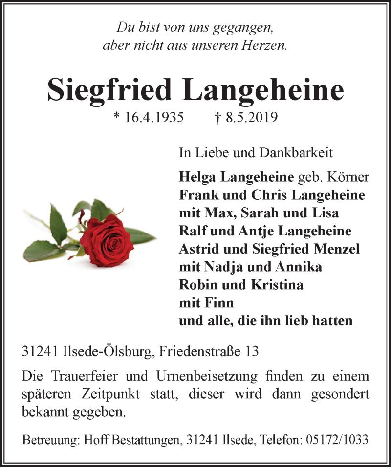 Traueranzeige für Siegfried Langeheine vom 11.05.2019 aus Peiner Allgemeine Zeitung