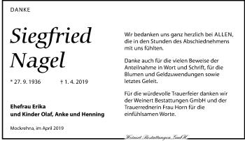 Traueranzeige für Siegfried Nagel vom 04.05.2019 aus Torgauer Zeitung
