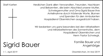 Traueranzeige für Sigrid Bauer vom 04.05.2019 aus Schaumburger Nachrichten