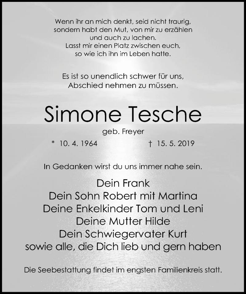 Traueranzeige für Simone Tesche vom 18.05.2019 aus Ostsee-Zeitung GmbH