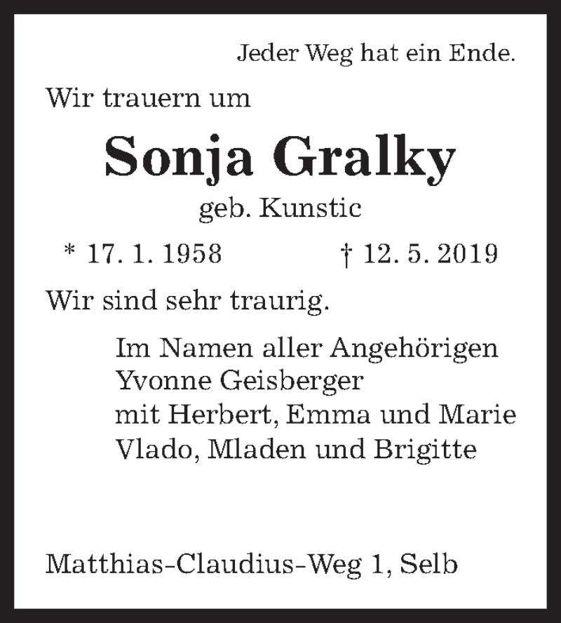 Traueranzeige für Sonja Gralky vom 15.05.2019 aus Aller Zeitung