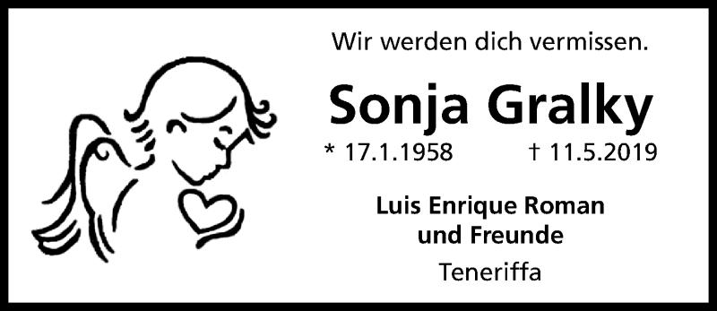 Traueranzeige für Sonja Gralky vom 16.05.2019 aus Aller Zeitung
