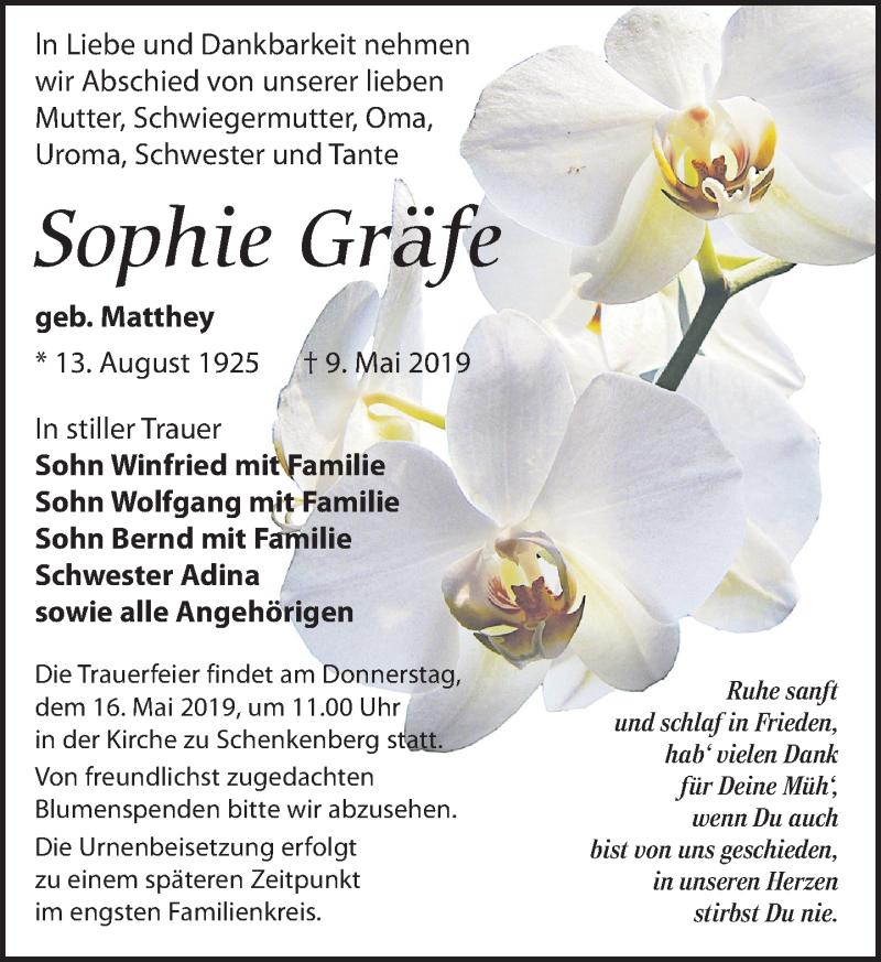 Traueranzeige für Sophie Gräfe vom 11.05.2019 aus Leipziger Volkszeitung
