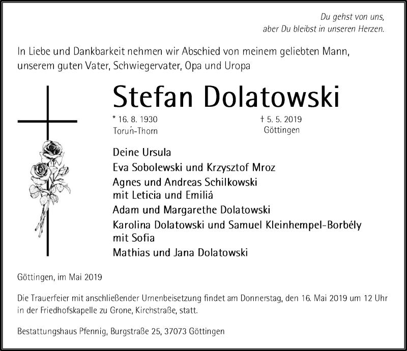 Traueranzeige für Stefan Dolatowski vom 11.05.2019 aus Göttinger Tageblatt