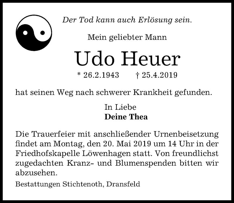 Traueranzeige für Udo Heuer vom 11.05.2019 aus Göttinger Tageblatt