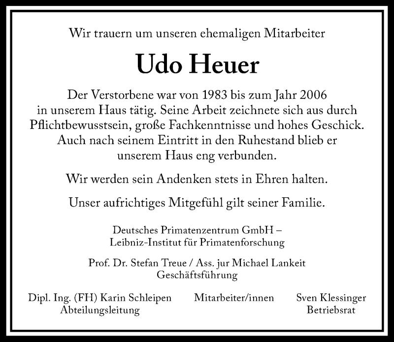 Traueranzeige für Udo Heuer vom 15.05.2019 aus Göttinger Tageblatt