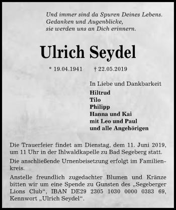 Traueranzeige für Ulrich Seydel vom 29.05.2019 aus Kieler Nachrichten