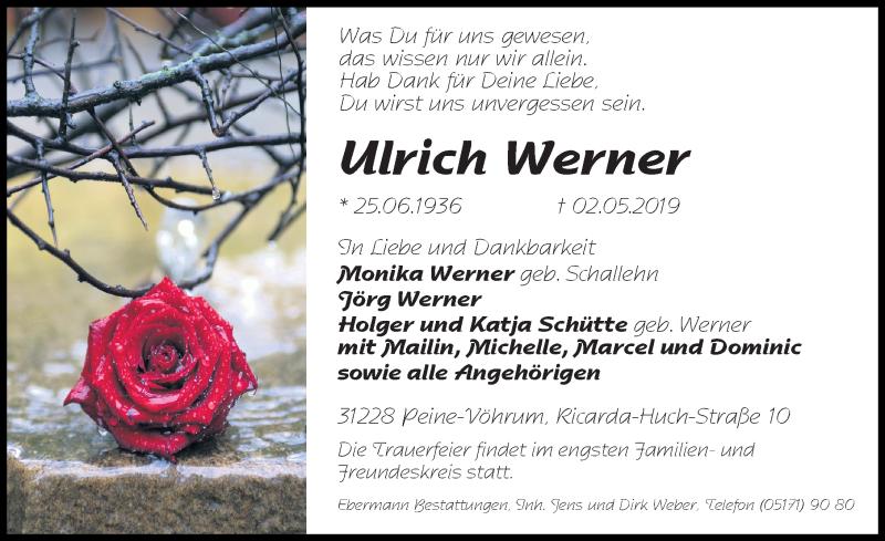Traueranzeige für Ulrich Werner vom 11.05.2019 aus Peiner Allgemeine Zeitung