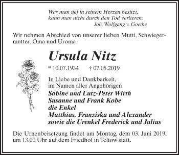Traueranzeige für Ursula Nitz vom 18.05.2019 aus Märkischen Allgemeine Zeitung
