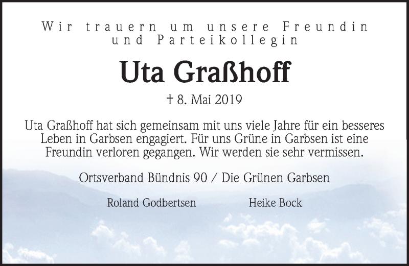 Traueranzeige für Uta Graßhoff vom 16.05.2019 aus Hannoversche Allgemeine Zeitung/Neue Presse