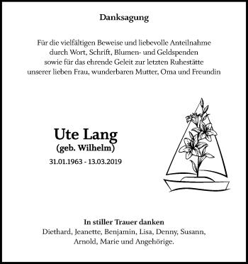 Traueranzeige für Ute Lang vom 04.05.2019 aus Ostsee-Zeitung GmbH