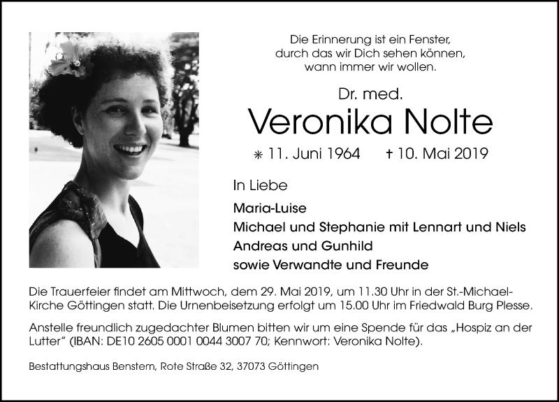 Traueranzeige für Veronika Nolte vom 18.05.2019 aus Göttinger Tageblatt