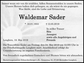 Traueranzeige für Waldemar Sader vom 18.05.2019 aus Göttinger Tageblatt