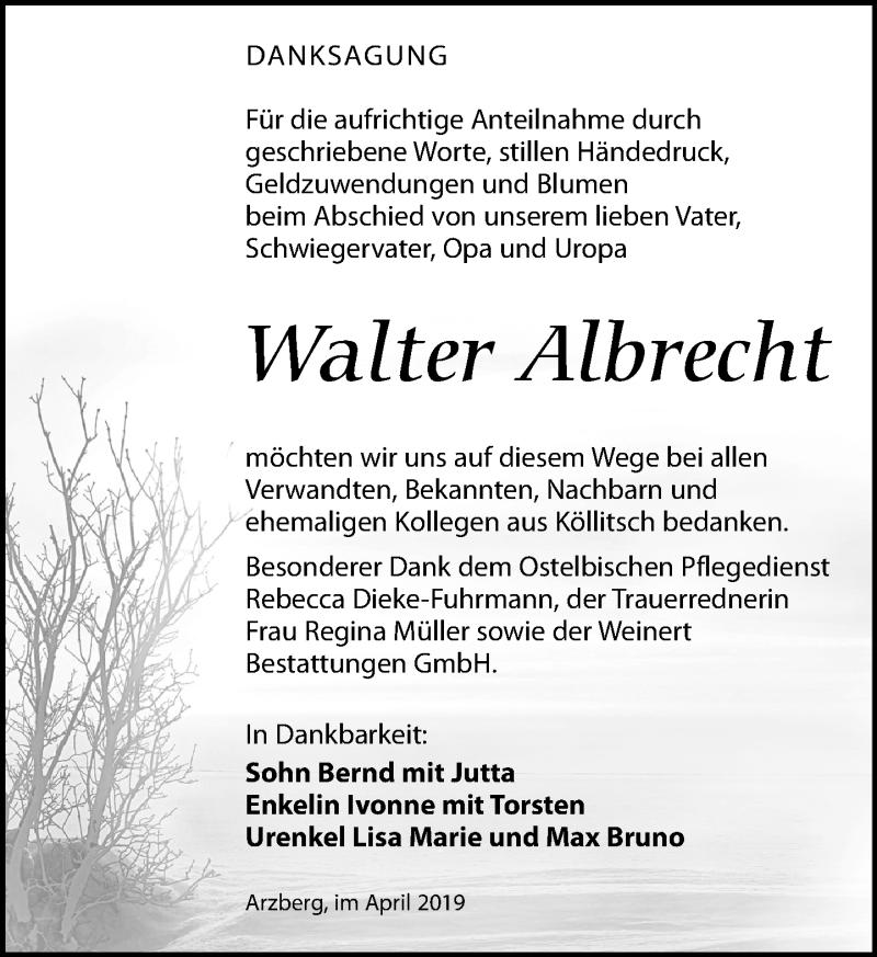 Traueranzeige für Walter Albrecht vom 27.04.2019 aus Torgauer Zeitung