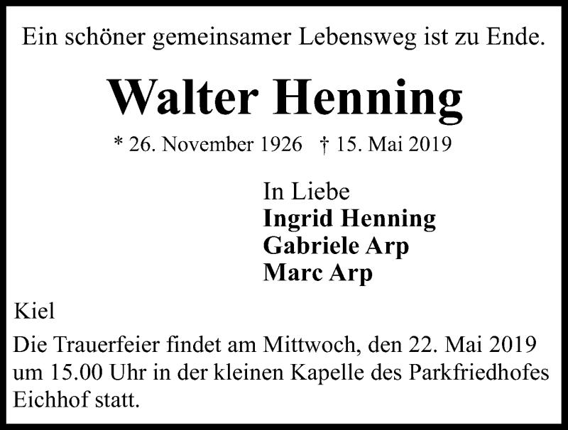 Traueranzeige für Walter Henning vom 18.05.2019 aus Kieler Nachrichten