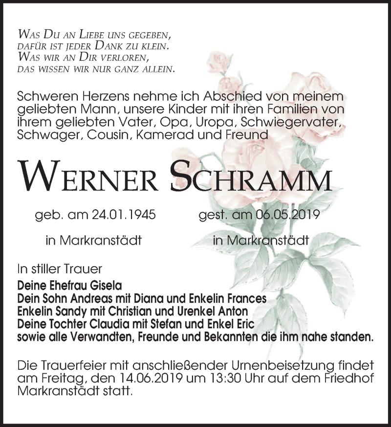 Traueranzeige für Werner Schramm vom 11.05.2019 aus Leipziger Volkszeitung