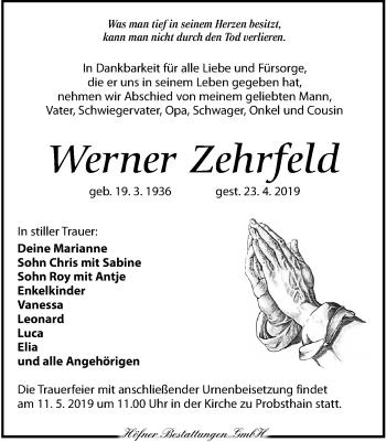 Traueranzeige für Werner Zehrfeld vom 04.05.2019 aus Torgauer Zeitung