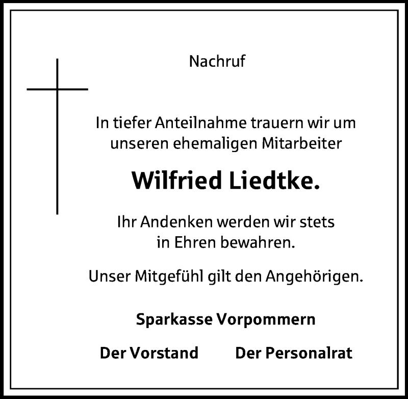 Traueranzeige für Wilfried Liedtke vom 25.05.2019 aus Ostsee-Zeitung GmbH