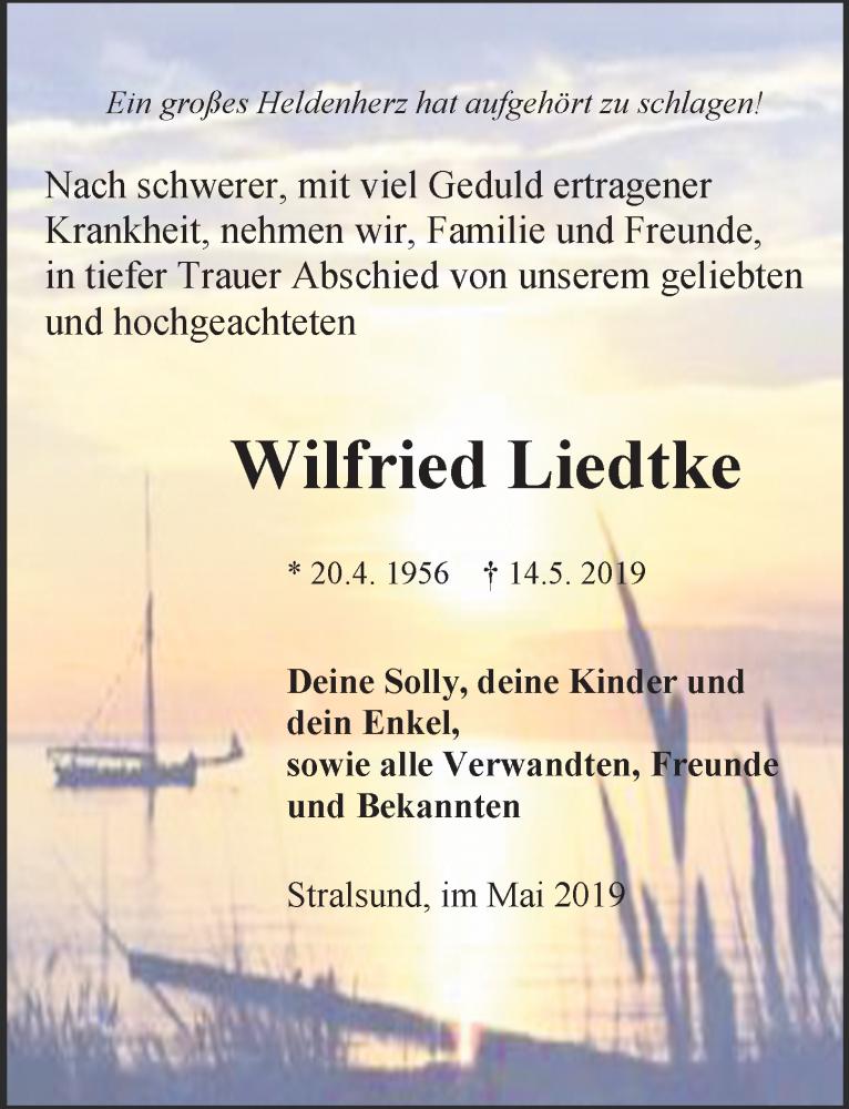 Traueranzeige für Wilfried Liedtke vom 18.05.2019 aus Ostsee-Zeitung GmbH