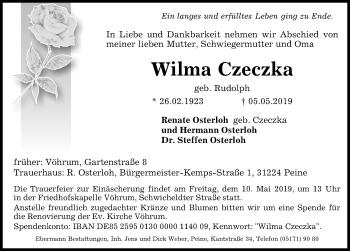 Traueranzeige für Wilma Czeczka vom 08.05.2019 aus Peiner Allgemeine Zeitung