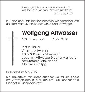 Traueranzeige für Wolfgang Altwasser vom 10.05.2019 aus Märkischen Allgemeine Zeitung