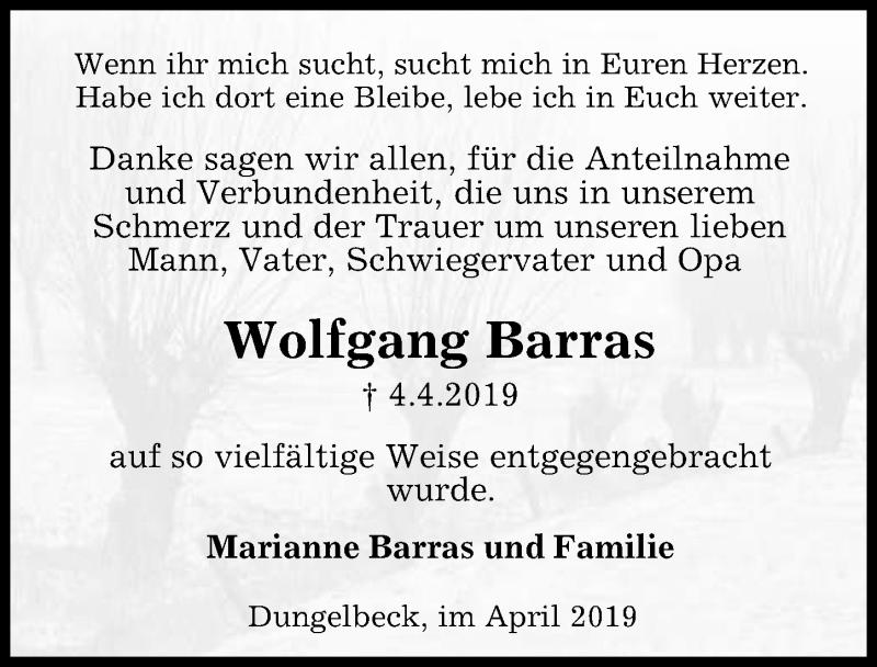 Traueranzeige für Wolfgang Barras vom 27.04.2019 aus Peiner Allgemeine Zeitung