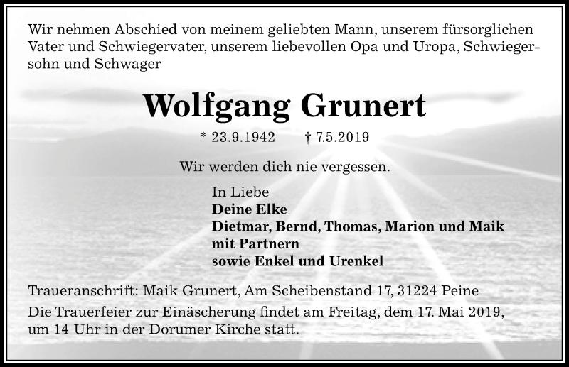 Traueranzeige für Wolfgang Grunert vom 11.05.2019 aus Peiner Allgemeine Zeitung