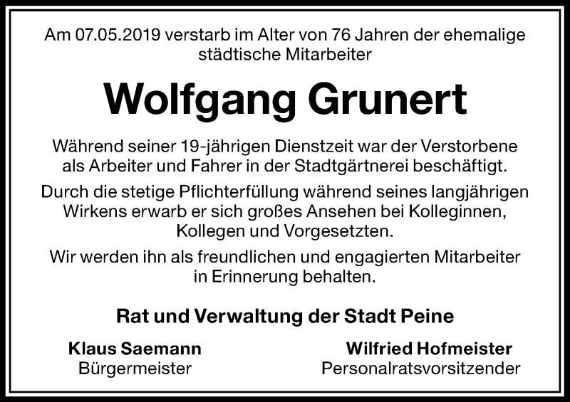 Traueranzeige für Wolfgang Grunert vom 16.05.2019 aus Peiner Allgemeine Zeitung