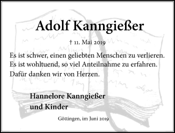 Traueranzeige für Adolf Kanngießer vom 01.06.2019 aus Göttinger Tageblatt
