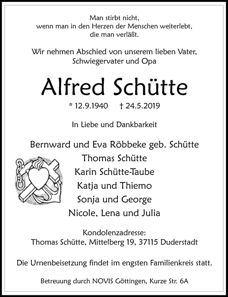 Traueranzeige für Alfred Schütte vom 01.06.2019 aus Göttinger Tageblatt