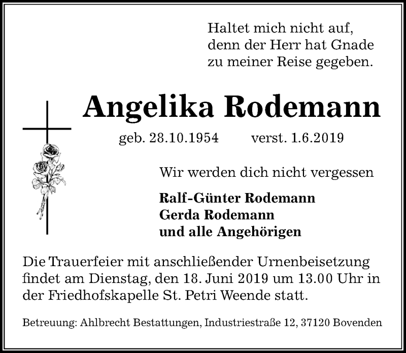 Traueranzeige für Angelika Rodemann vom 08.06.2019 aus Göttinger Tageblatt
