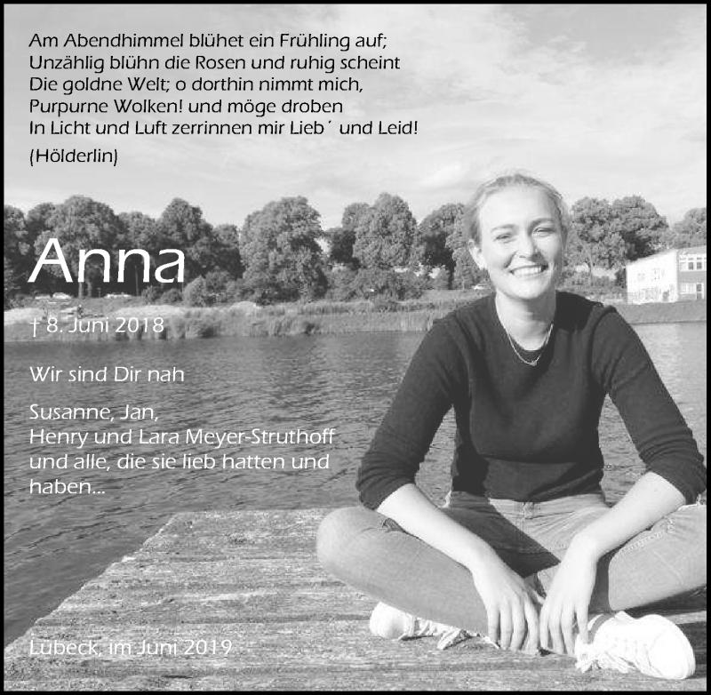 Traueranzeige für Anna  vom 09.06.2019 aus Lübecker Nachrichten