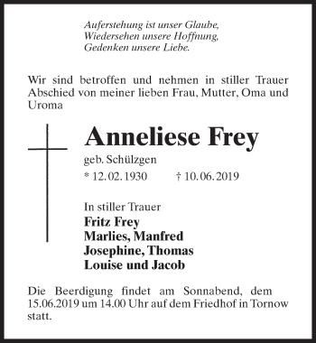 Traueranzeige für Anneliese Frey vom 13.06.2019 aus Märkischen Allgemeine Zeitung