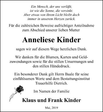 Traueranzeige für Anneliese Kinder vom 01.06.2019 aus Ostsee-Zeitung GmbH