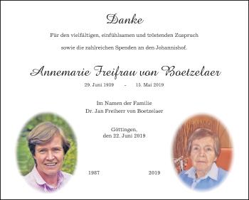 Traueranzeige für Annemarie Freifrau von Boetzelaer vom 22.06.2019 aus Göttinger Tageblatt