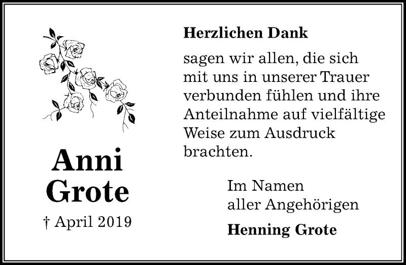 Traueranzeige für Anni Grote vom 01.06.2019 aus Peiner Allgemeine Zeitung