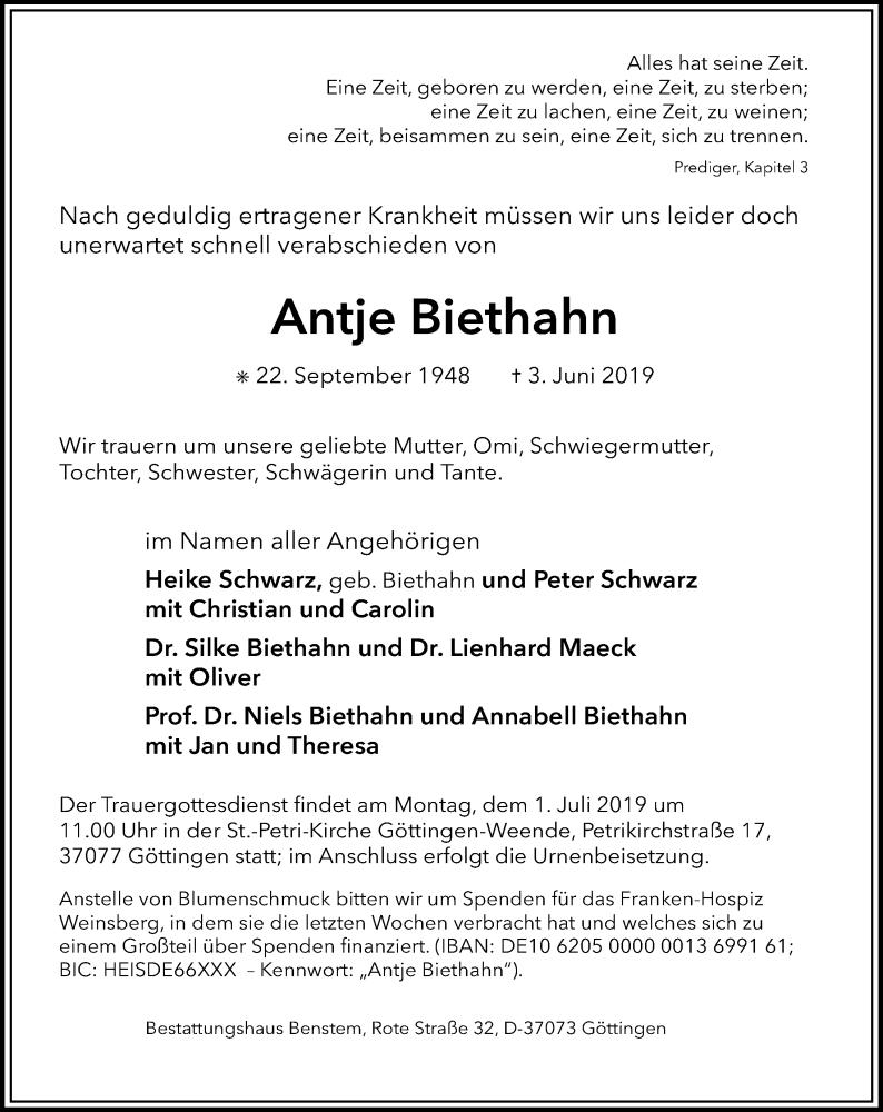 Traueranzeige für Antje Biethahn vom 08.06.2019 aus Göttinger Tageblatt