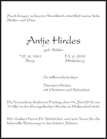 Traueranzeige für Antje Hirdes vom 08.06.2019 aus Kieler Nachrichten