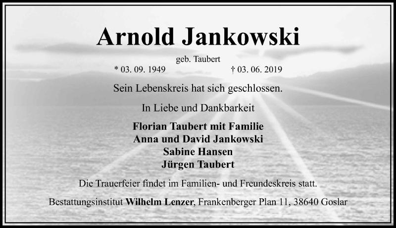 Traueranzeige für Arnold Jankowski vom 08.06.2019 aus Hannoversche Allgemeine Zeitung/Neue Presse