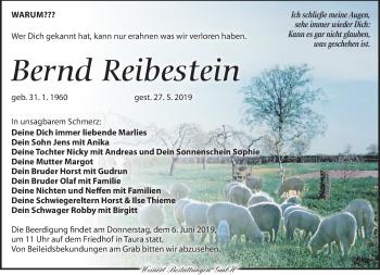 Traueranzeige für Bernd Reibestein vom 05.06.2019 aus Torgauer Zeitung