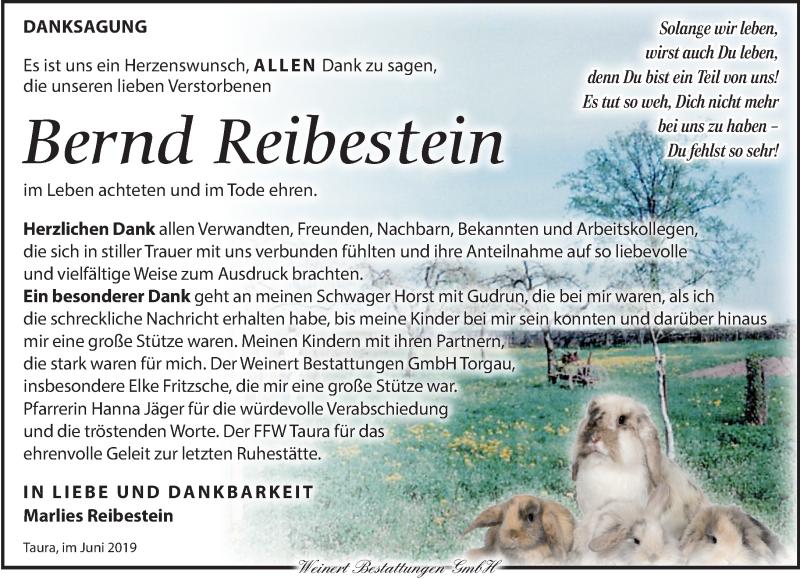 Traueranzeige für Bernd Reibestein vom 19.06.2019 aus Torgauer Zeitung