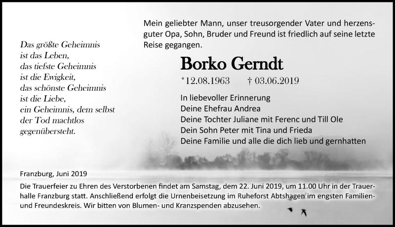 Traueranzeige für Borko Gerndt vom 15.06.2019 aus Ostsee-Zeitung GmbH