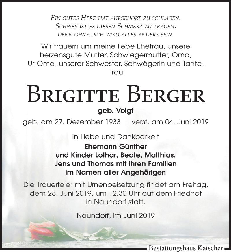 Traueranzeige für Brigitte Berger vom 08.06.2019 aus Leipziger Volkszeitung