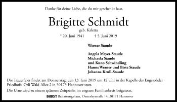 Traueranzeige für Brigitte Schmidt vom 08.06.2019 aus Hannoversche Allgemeine Zeitung/Neue Presse